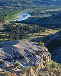 Theodore Roosevelt National Park, ND:  Little Missouri River and valley from the River Bend Overlook
