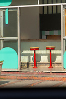 Close up of bar stools in street bar, Havana, Cuba