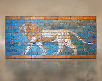 "Coloured glazed terracotta brick panel depicting striding lions from Babylon (Iraq). Neo-Babylonian Period, reign of Nebuchadnezzar II 604-562 BC. This panel belonged to the tiled decorated walls either side of the Processional Way in Babylon which was 3280 ft (1km) long. It led from the temple of Marduk, through the Ishtar Gate to the temple of Akitu. The lion is the is associated with the Babylonian goddess Ishtar. T processional Way played a key role in the  New Year festival which was held in the spring equinox. Babylonian Gods were believed to leave their temples on this day and visit the god Marduk in his temple in Babylon. Kings like Nebuchanezzar would have played an important role in this procession and they aside their regal regalia for the procession and recited ""negative confessions"" as they preceded down the Processional way. Inv Ao 21118, The Louvre Museum, Paris."