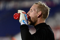 Harrison, NJ - Wednesday Feb. 22, 2017: David Ousted prior to a Scotiabank CONCACAF Champions League quarterfinal match between the New York Red Bulls and the Vancouver Whitecaps FC at Red Bull Arena.