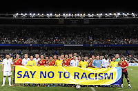 Spain and USA line-up before the game behind a Say No To Racism banner. USA defeated Spain 2-0 during the semi-finals of the FIFA Confederations Cup at Free State Stadium in Manguang/Bloemfontein, South Africa on June 24, 2009..