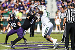 TCU Horned Frogs defensive end Mat Boesen (9) in action during the game between the Baylor Bears and the TCU Horned Frogs at the Amon G. Carter Stadium in Fort Worth, Texas.