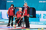 Sochi, RUSSIA - Mar 7 2014 -  Wendy Morgan, Jim Armstrong and Joe Rea of Canada's Wheelchair Curling Team trains before the Sochi 2014 Paralympic Winter Games in Sochi, Russia.  (Photo: Matthew Murnaghan/Canadian Paralympic Committee)