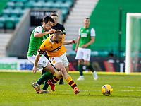 24th April 2021; Easter Road, Edinburgh, Scotland; Scottish Cup fourth round, Hibernian versus Motherwell; Joe Newell of Hibernian fouls Allan Campbell of Motherwell