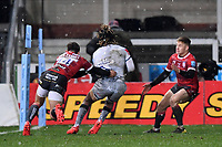 2nd January 2021; Kingsholm Stadium, Gloucester, Gloucestershire, England; English Premiership Rugby, Gloucester versus Sale Sharks; Louis Rees-Zammit of Gloucester tackles Marland Yarde of Sale Sharks into touch