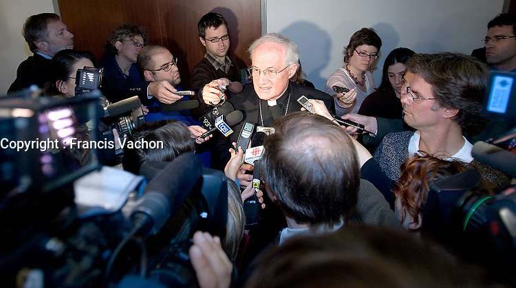 PREMIUM -- Quebec City, October 30, 2007 - His Eminence Marc Cardinal Ouellet, Archbishop of Quebec, speaks to the medias after his presentation at the Bouchard-Taylor commission at the Delta Hotel in Quebec City, October 30, 2007. The Consultation Commission on Accommodation Practices will be in Quebec City until Wednesday October 31.<br /> <br /> PHOTO :  Francis Vachon - Agence Quebec Presse