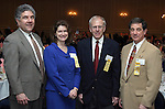 """SOUTHBURY, CT - 1 April 2004 - 040104TH06 - The United Way 2004 Allocation Chairs, Frank Scinto of Cheshire and Gager Emerson, Stephani Teixeira of Prospect and Banknorth, Dick Dumont of Middlebury and Teikyo Post University, and Jim Orsillo, a financial consultant out of Prospect,    pose at the United Way of Greater Waterbury """"Digging Deeper"""" Campaign 2003-04 Awards Dinner held at the Southbury Hilton Hotel Thursday night.  TODD HOUGAS PHOTO"""