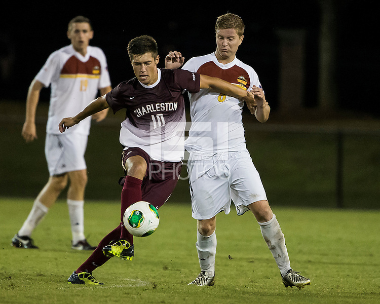 The Winthrop University Eagles played the College of Charleston Cougars at Eagles Field in Rock Hill, SC.  College of Charleston broke the 1-1 tie with a goal in the 88th minute to win 2-1.  Jake Currie (10), Magnus Thorsson (8)