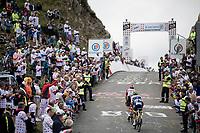 Thomas de Gendt (BEL/Lotto-Soudal) & Andrea Pasqualon (ITA/Wanty - Gobert) up the Horquette d'Ancizan<br /> <br /> Stage 12: Toulouse to Bagnères-de-Bigorre(209km)<br /> 106th Tour de France 2019 (2.UWT)<br /> <br /> ©kramon