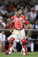 Catcher Jeremy Martinez #25 of Mater Dei H.S. in Fountain Valley, California participates in the Perfect Game All American Classic at Petco Park on August 12, 2012 in San Diego, California. (Larry Goren/Four Seam Images)