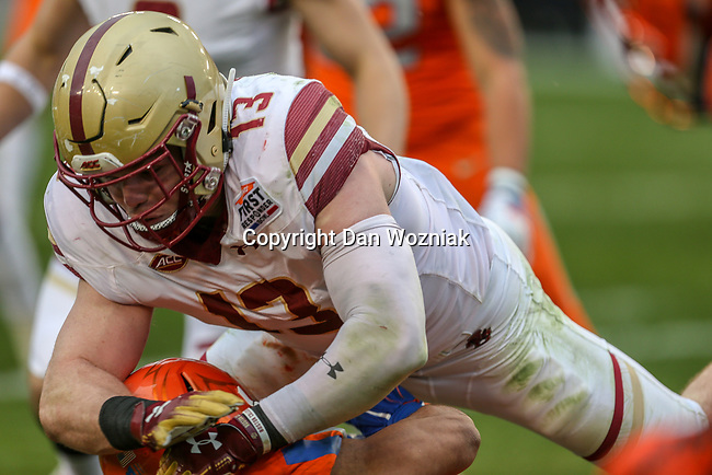 Boston College Eagles linebacker Connor Strachan (13) in action during the Servpro First Responder Bowl game between Boise State Broncos and Boston College Eagles at the Cotton Bowl Stadium in Dallas, Texas.