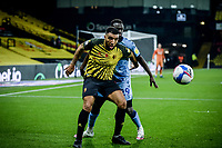 7th November 2020; Vicarage Road, Watford, Hertfordshire, England; English Football League Championship Football, Watford versus Coventry City; Troy Deeney shields the ball late in the game.