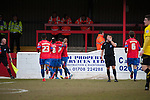 Dagenham and Redbridge 1 Burton Albion 3, 21/02/2015. Victoria Road, League Two. Dagenham celebrate their goal by Alex Jakubiak in the 67th minute. Burton Albion moved to the top of League Two following a hard-fought win over Dagenham & Redbridge played in-front of 1,718 supporters. Photo by Simon Gill.