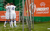 NHallam Hope (L) of England celebrate his second goal with John Lundstrom during the UEFA U-17 championship Group A match between Serbia and England on May 9, 2011 in Indjija, Serbia (Photo by Srdjan Stevanovic/Starsportphoto.com)