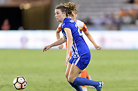 Houston, TX - Wednesday June 28, 2017: Morgan Andrews brings the ball up the field during a regular season National Women's Soccer League (NWSL) match between the Houston Dash and the Boston Breakers at BBVA Compass Stadium.