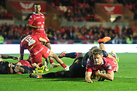 Kieran Hardy of Scarlets scores his sides eighth try during the Guinness Pro14 Round 5 match between Scarlets and Isuzu Southern Kings at the Parc Y Scarlets in Llanelli, Wales, UK. Saturday 29 September 2018