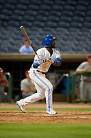 Dunedin Blue Jays center fielder Chavez Young (2) during a Florida State League game against the Clearwater Threshers on April 4, 2019 at Spectrum Field in Clearwater, Florida.  Dunedin defeated Clearwater 11-1.  (Mike Janes/Four Seam Images)