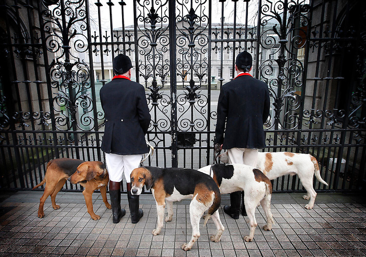 """Ward Hunt Protest..Huntsman, Pat Coyle (left) and Whipper-in, Darren Campbell, members of the Ward Union Hunt pictured outside Dail Eireann with their hounds as they launch the """"Save the Ward Hunt"""" campaign."""