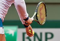 France, Paris , May 26, 2015, Tennis, Roland Garros, Hands with racket and ball<br /> Photo: Tennisimages/Henk Koster