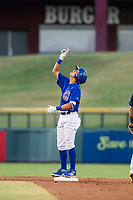 AZL Cubs center fielder Jose Gutierrez (91) celebrates after hitting a double during a game against the AZL Brewers on August 6, 2017 at Sloan Park in Mesa, Arizona. AZL Cubs defeated the AZL Brewers 8-7. (Zachary Lucy/Four Seam Images)