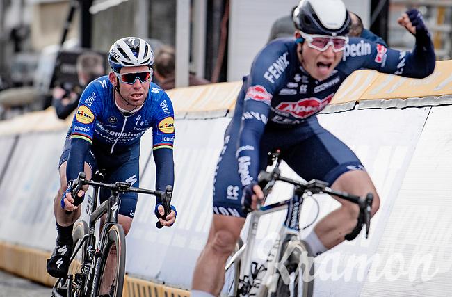 A solid performance by Mark Cavendish (GBR/Deceuninck - Quick Step) who rolls over the finish line 3rd behind race winner Jasper Philipsen (BEL/Alpecin-Fenix) <br /> <br /> 109th Scheldeprijs 2021 (ME/1.Pro)<br /> 1 day race from Terneuzen (NED) to Schoten (BEL): 194km<br /> <br /> ©kramon