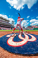20 May 2018: Washington Nationals catcher Pedro Severino on deck during a game against the Los Angeles Dodgers at Nationals Park in Washington, DC. The Dodgers defeated the Nationals 7-2, sweeping their 3-game series. Mandatory Credit: Ed Wolfstein Photo *** RAW (NEF) Image File Available ***