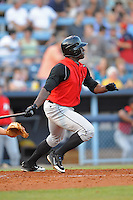 Jared Mitchell Center Fielder Kannapolis Intimidators (Chicago White Sox) swings at a pitch at McCormick Field August 13, 2009 in Asheville, NC (Photo by Tony Farlow/Four Seam Images)