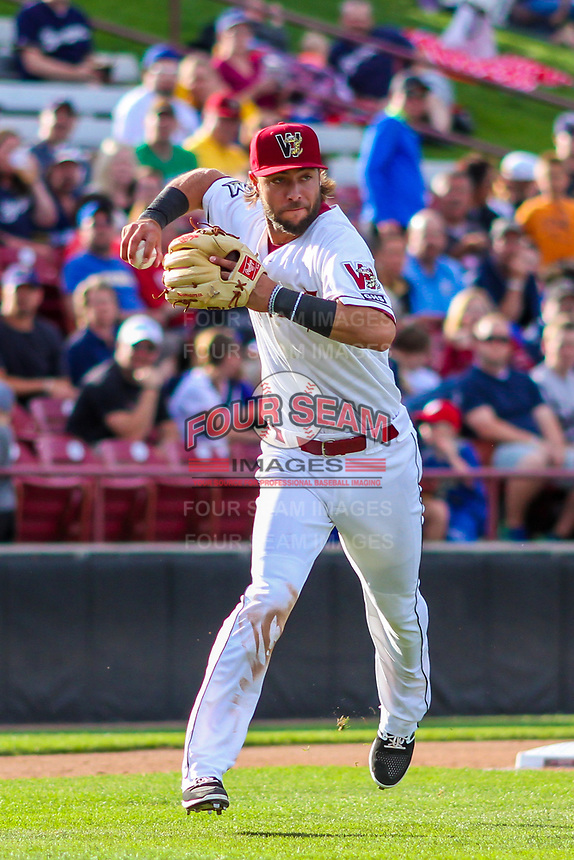 Wisconsin Timber Rattlers third baseman Weston Wilson (23) throws to first base during game one of a Midwest League doubleheader against the Kane County Cougars on June 23, 2017 at Fox Cities Stadium in Appleton, Wisconsin.  Kane County defeated Wisconsin 4-3. (Brad Krause/Four Seam Images)