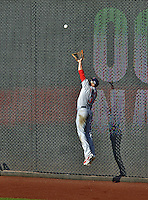 10 October 2012: St. Louis Cardinals right fielder Carlos Beltran pulls in a Michael Morse fly in the 8th inning of Postseason Playoff Game 3 of the National League Divisional Series against the Washington Nationals at Nationals Park in Washington, DC. The Cardinals shut out the Nationals 8-0 in the third game of their best of five series, giving St. Louis a 2-1 lead in the playoff. Mandatory Credit: Ed Wolfstein Photo