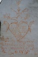 Early romantic graffiti on the eighteenth-century chapel in the grounds of the Hacienda Benazuza, Sanlucar La Mayor, Spain