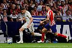Saul Niguez of Atletico de Madrid and Fede Valverde  of Real Madrid during La Liga match between Atletico de Madrid and Real Madrid at Wanda Metropolitano Stadium{ in Madrid, Spain. {iptcmonthname} 28, 2019. (ALTERPHOTOS/A. Perez Meca)