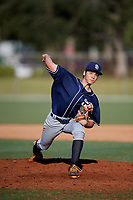 Aaron Gebig during the WWBA World Championship at the Roger Dean Complex on October 19, 2018 in Jupiter, Florida.  Aaron Gebig is a right handed pitcher from Fort Myers, Florida who attends Canterbury High School and is committed to Barry.  (Mike Janes/Four Seam Images)