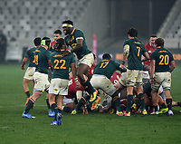 Siya Kolisi - South Africa captain is ecstatic at the final whistle as he celebrates with Mourne Steyn (22) after defeating the Lions 19-16 in the third test, the Springboks win the series 2-1.<br /> British & Irish Lions v South Africa,  3rd Test, Cape Town Stadium, Cape Town, South Africa,  Saturday 7th August 2021. <br /> Please credit: FOTOSPORT/DAVID GIBSON