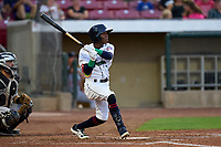 Cedar Rapids Kernels Daniel Ozoria (1) bats during a game against the Wisconsin Timber Rattlers on August 17, 2021 at Perfect Game Field in Cedar Rapids, Iowa.  (Mike Janes/Four Seam Images)