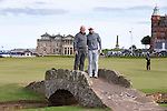 Dunhill Links Trophy Media day Wednesday 1st October 2014. Rory McIlroy and his father Gerry pose for a photo on the Swilkan bridge during a practise over the Old Course today