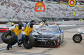 NASCAR Xfinity Series<br /> Fitzgerald Glider Kits 300<br /> Bristol Motor Speedway, Bristol, TN USA<br /> Saturday 22 April 2017<br /> Daniel Suarez, Juniper Toyota Camry, makes a pit stop.<br /> World Copyright: Russ LaBounty/LAT Images<br /> ref: Digital Image 17BRI1jh_03177