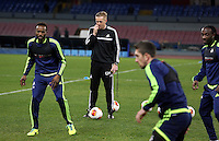 Wednesday 26 February 2014<br /> Pictured: Manager Garry Monk (C) in training.<br /> Re: Swansea City FC press conference and training at San Paolo in Naples Italy for their UEFA Europa League game against Napoli.