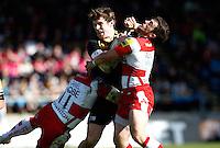 Photo: Richard Lane/Richard Lane Photography. London Wasps v Gloucester Rugby. Aviva Premiership. 01/04/2012. Wasps' Elliot Daly is tackled by Gloucester's Nick Runciman. and James Simpson-Daniel.
