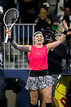 July 30, 2019: Bethanie Mattek-Sands (USA) reacts after defeating Venus Williams (USA) 6-7, 6-3, 6-1 in the first round of the Mubadala Silicon Valley Classic at San Jose State in San Jose, California. ©Mal Taam/TennisClix/CSM
