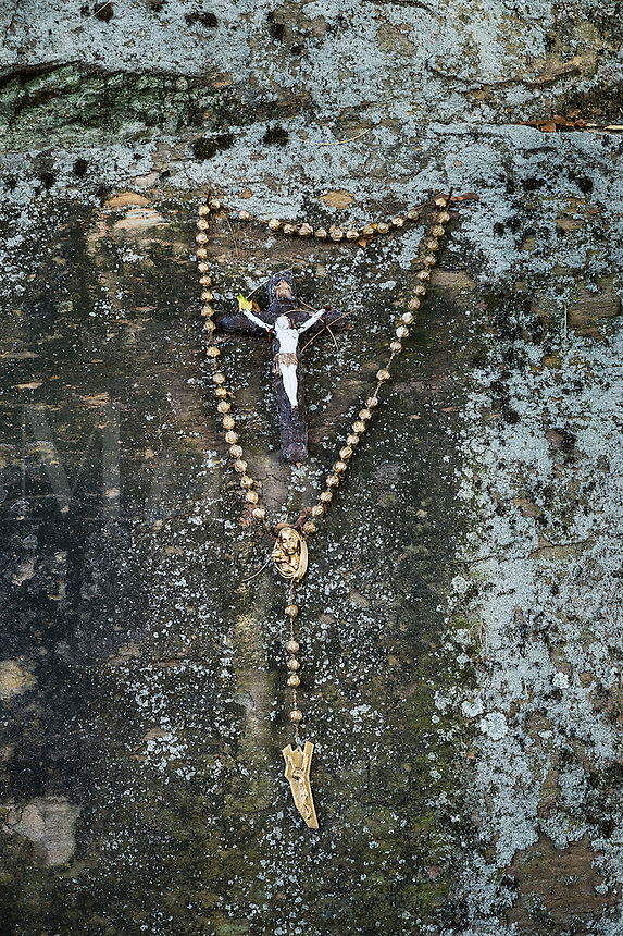Rosary beads at a Catholic shrine.