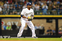 Milwaukee Brewers second baseman Rickie Weeks #23 during a game against the Los Angeles Dodgers at Miller Park on May 22, 2013 in Milwaukee, Wisconsin.  Los Angeles defeated Milwaukee 9-2.  (Mike Janes/Four Seam Images)