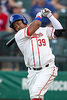 Wearing an Austin Senators throwback uniform, Round Rock Express designated hitter Manny Ramirez (39) on deck during the Pacific Coast League baseball game against the Oklahoma City RedHawks on July 9, 2013 at the Dell Diamond in Round Rock, Texas. Round Rock defeated Oklahoma City 11-8. (Andrew Woolley/Four Seam Images)