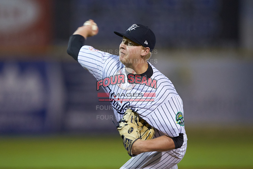 Pulaski Yankees relief pitcher Tyler Johnson (62) in action against the Burlington Royals at Calfee Park on September 1, 2019 in Pulaski, Virginia. The Royals defeated the Yankees 5-4 in 17 innings. (Brian Westerholt/Four Seam Images)