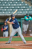 Sam Travis (12) of the Tacoma Rainiers at bat against the Salt Lake Bees at Smith's Ballpark on May 16, 2021 in Salt Lake City, Utah. The Bees defeated the Rainiers 8-7. (Stephen Smith/Four Seam Images)