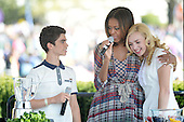 Comedian Peyton List (R) and Cameron Boyce(L) from the comedy series Jessie make a healthy drink with First Lady Michelle Obama during the annual White House Easter Egg Roll on the South Lawn of the White House April 21, 2014 in Washington, DC. President Barack Obama and first lady Michelle Obama hosted thousands of people during the annual celebration of Easter.<br /> Credit: Olivier Douliery / Pool via CNP