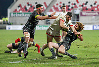 2nd January 2021   Ulster vs Munster <br /> <br /> Nick Timoney is tackled by Ben Healy during the PRO14 Round 10 clash between Ulster Rugby and Munster Rugby at the Kingspan Stadium, Ravenhill Park, Belfast, Northern Ireland. Photo by John Dickson/Dicksondigital