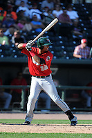 Fort Wayne TinCaps first baseman Luis Tejada (13) during a game against the Great Lakes Loons on August 18, 2013 at Dow Diamond in Midland, Michigan.  Fort Wayne defeated Great Lakes 4-3.  (Mike Janes/Four Seam Images)