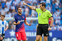 12th September 2021: Barcelona, Spain:  Koke of Atletico de Madrid pleads with the referee during the Liga match between RCD Espanyol and Atletico de Madrid at RCDE Stadium in Cornella, Spain.
