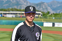 Riley Pint (34) of the Grand Junction Rockies before the game against the Orem Owlz in Pioneer League action at Home of the Owlz on July 6, 2016 in Orem, Utah. The Owlz defeated the Rockies 9-1 in Game 1 of the double header.  (Stephen Smith/Four Seam Images)