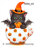Kayomi, CUTE ANIMALS, paintings, CupKittyPumpkin_M, USKH45,#AC# stickers illustrations, pinturas ,everyday